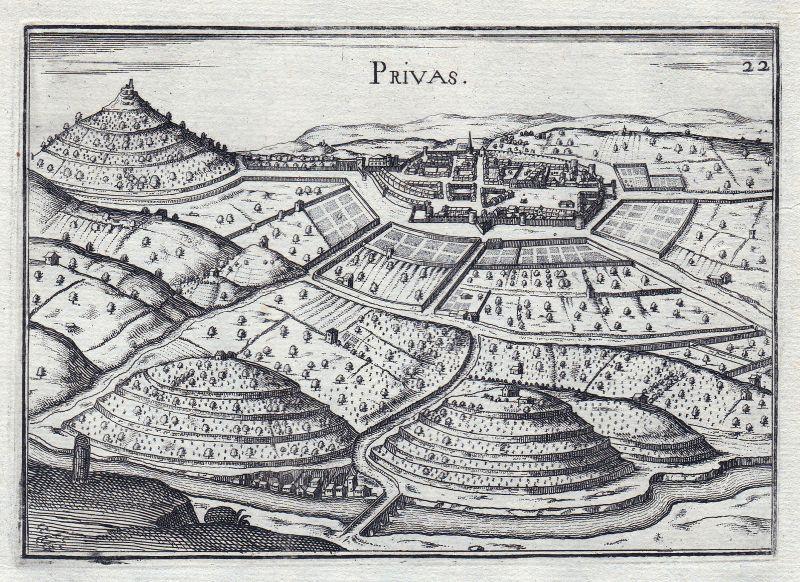 1630 Privas Rhone-Alpes Ardeche France gravure estampe Kupferstich Tassin