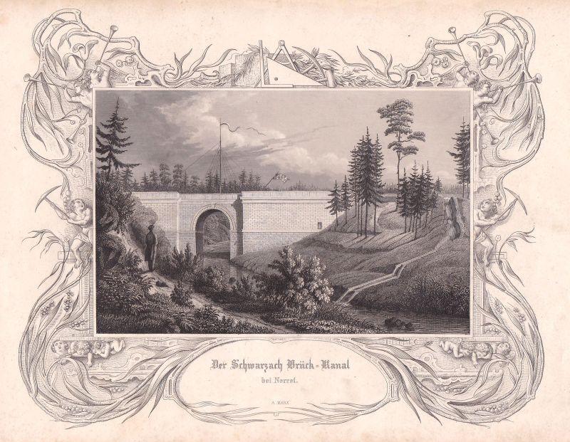 1847 Brückkanal Schwarzach Wendelstein Marx Stahlstich antique print 0