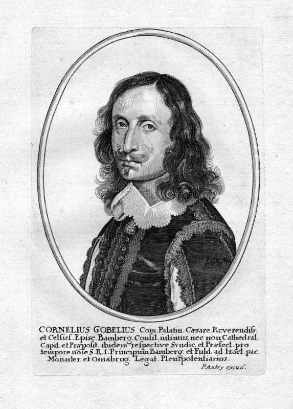 Ca 1650 Cornelius Gobelius Weihbischof Erfurt Portrait Kupferstich antique print 0