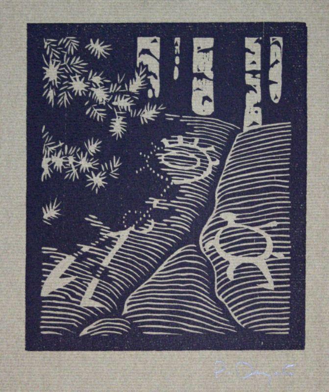 1995 Patrick Dengate Woodland Petroglyphs Holzschnitt signiert Grafik 0