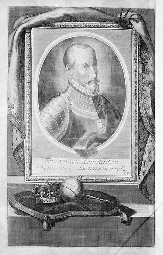 1720 - Friedrich II. Dänemark Kupferstich Portrait engraving gravure 0