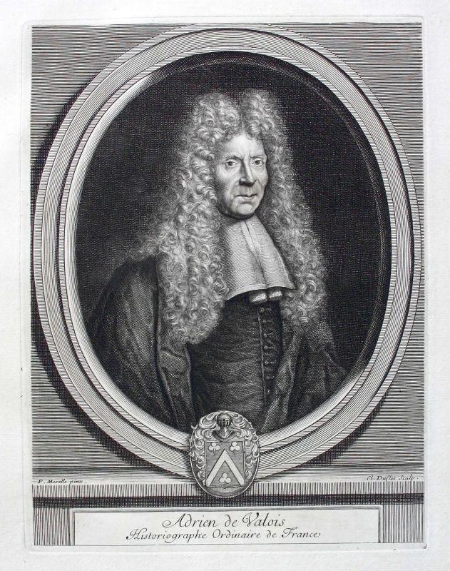 Adrien Valois poet Dichter historiographe Portrait Kupferstich gravure ca. 1700
