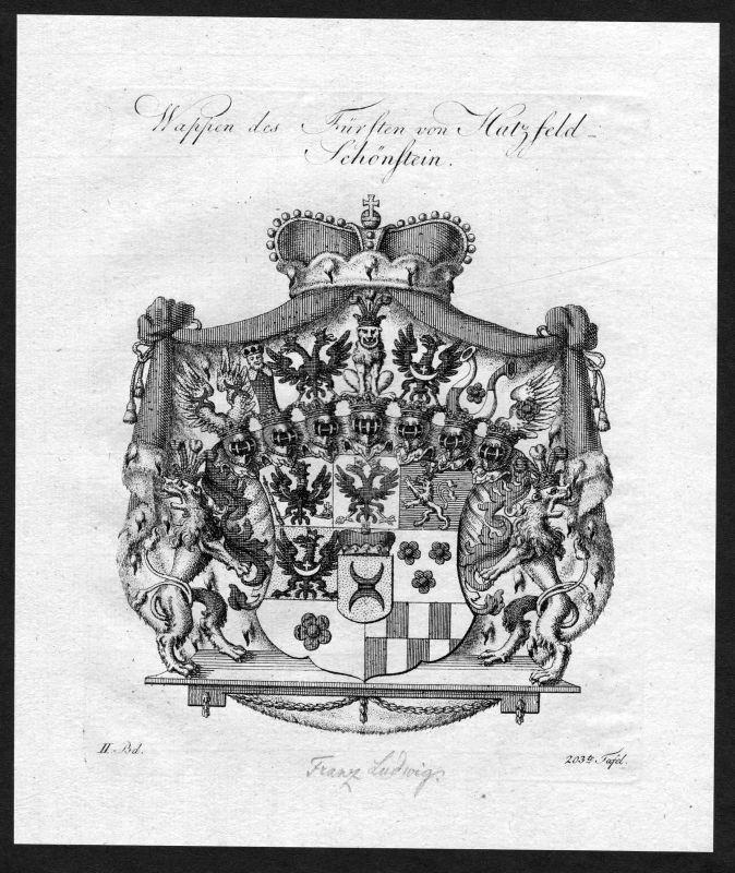 1790 Hatzfeld Schönstein Schoenstein Wappen Adel coat of arms heraldry Heraldik