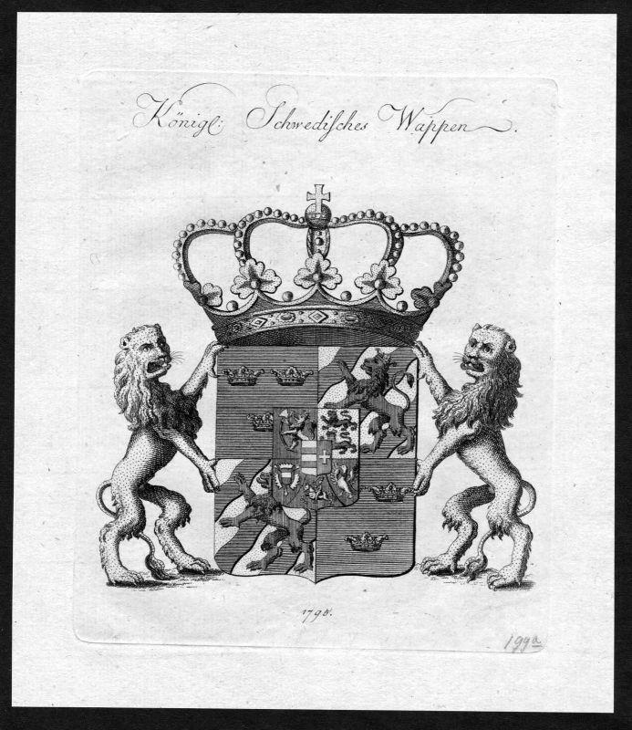 1790 - Schweden Sweden Wappen Adel coat of arms heraldry Heraldik Kupferstich 0
