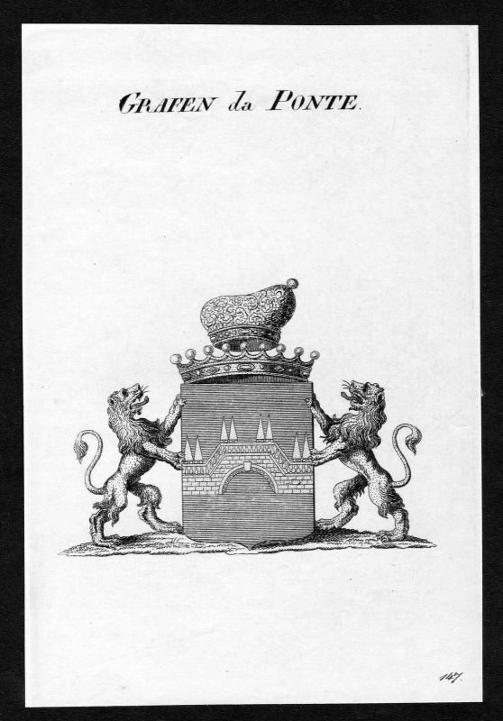 Ca. 1820 Ponte Wappen Adel coat of arms Kupferstich antique print heraldry