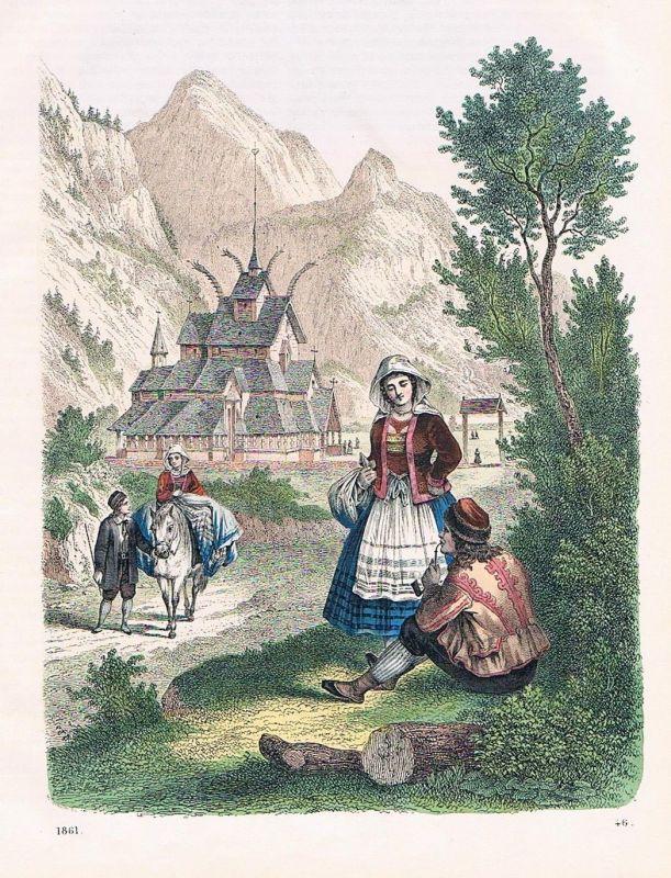 1861 - Norwegen Norway Tracht Trachten costumes Skandinavien Lithographie 0