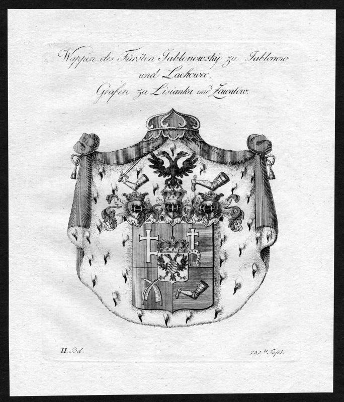 1790 - Jablonowski Lysjanka Wappen Adel coat of arms heraldry Heraldik