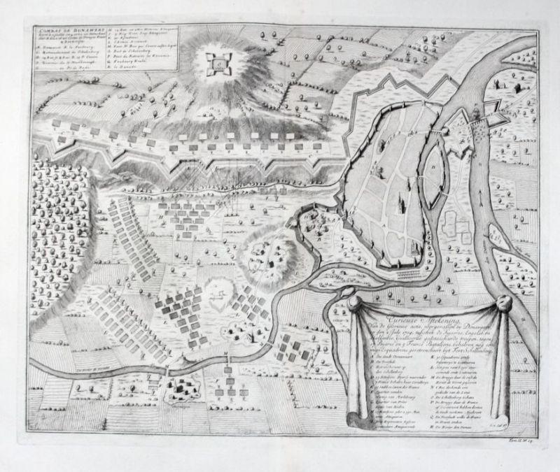 1720 - Donauwörth Schlacht von 1704 Kupferstich engraving battle 0