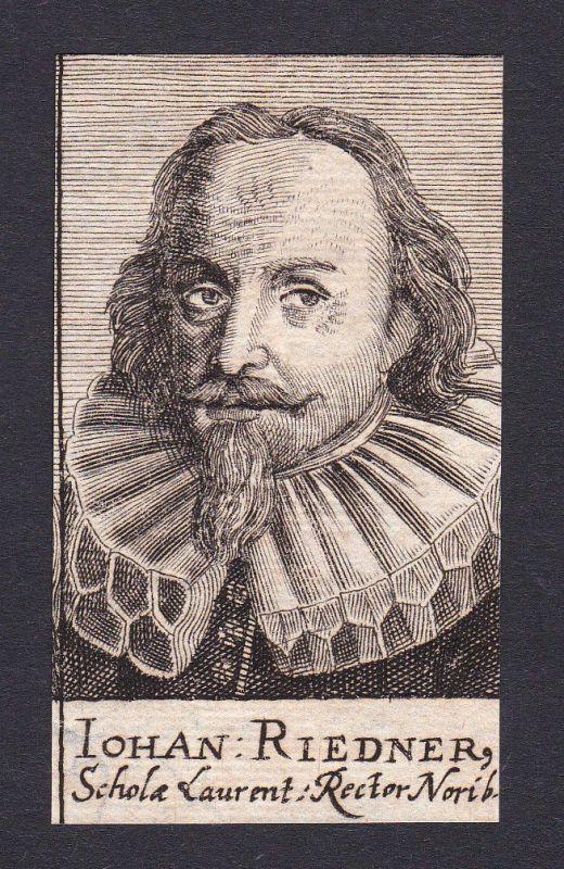 17. Jh. Johann Riedner / preacher Prediger Nürnberg Portrait Kupferstich 0