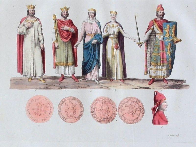 1825 - Frankreich Könige Mittelalter Rois Aquatinta aquatint antique print 0
