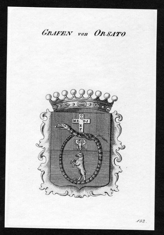 Ca. 1820 Orsato Wappen Adel coat of arms Kupferstich antique print heraldry 0