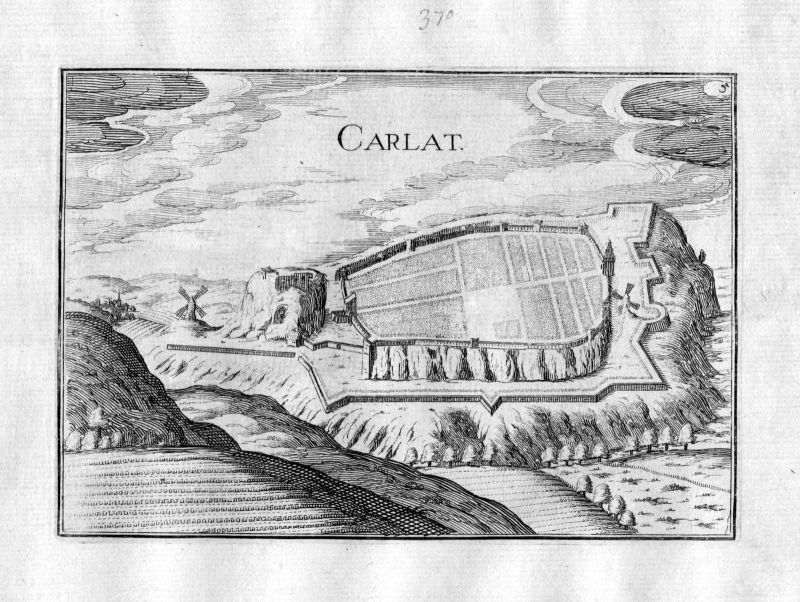 Ca. 1630 Carlat Cantal Frankreich Kupferstich Karte map engraving gravure Tassin 0