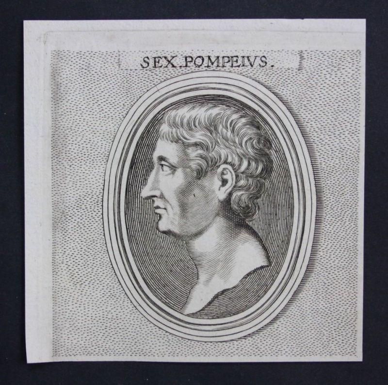 1770 - Sextus Pompeius Rom Antike Feldherr roman Portrait Kupferstich engraving 0