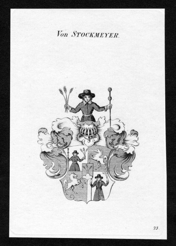 Ca. 1820 Stockmeyer Wappen Adel coat of arms Kupferstich antique print heraldry 0