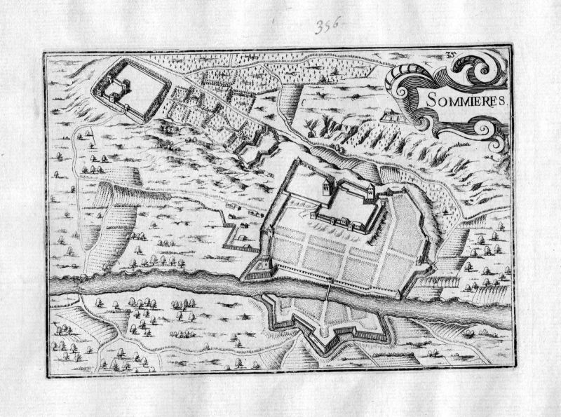 Ca. 1630 Sommieres Gard France Kupferstich Karte map engraving gravure Tassin