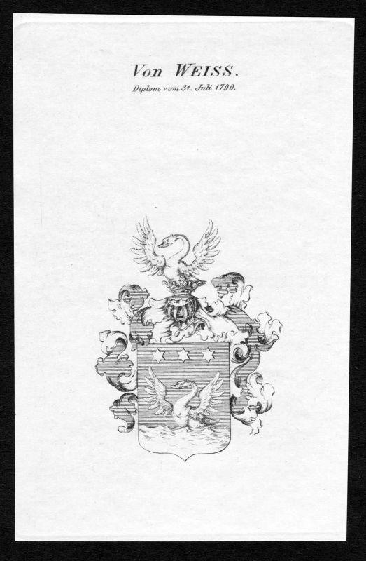Ca. 1820 - Weiss Wappen Adel coat of arms Kupferstich antique print heraldry 0