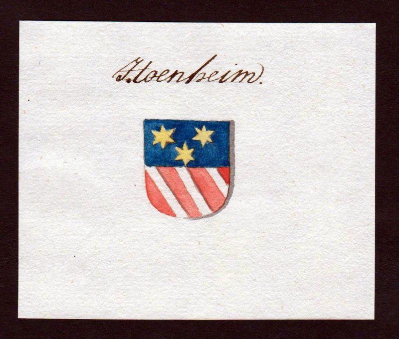18. Jh. Hoenheim Hönheim Handschrift Manuskript Wappen manuscript coat of arms 0
