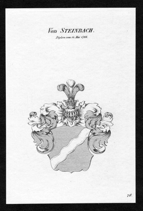 Ca. 1820 Steinbach Wappen Adel coat of arms Kupferstich antique print heraldry 0