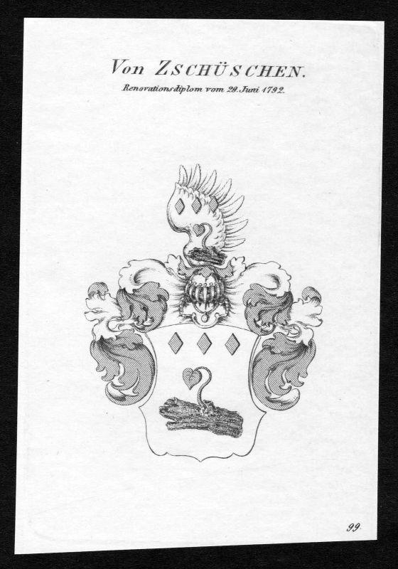 Ca. 1820 Zschüschen Wappen Adel coat of arms Kupferstich antique print heraldry 0