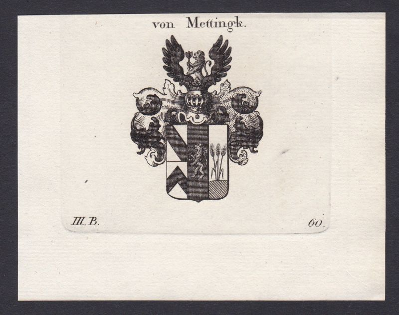 1820 Mettingh Bayern Wappen Adel coat of arms Heraldik Kupferstich antique print 0