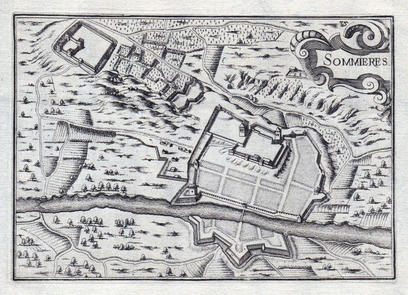 1630 Sommieres Gard France gravure estampe Kupferstich Tassin