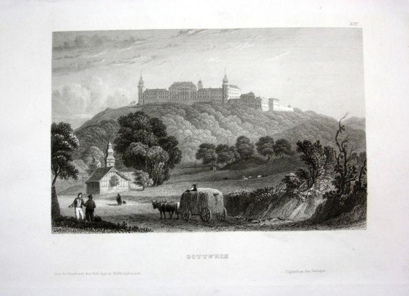 Ca. 1840 Gottweih Schloss Kirche Bauern Feldarbeit Stahlstich engraving