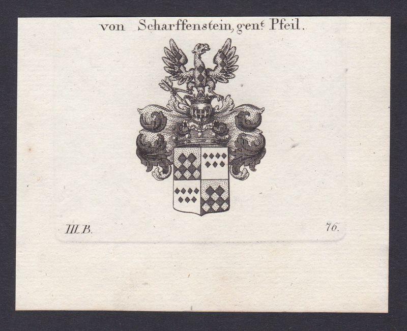 1820 Scharfenstein Wappen Adel coat of arms Heraldik Kupferstich antique print 0