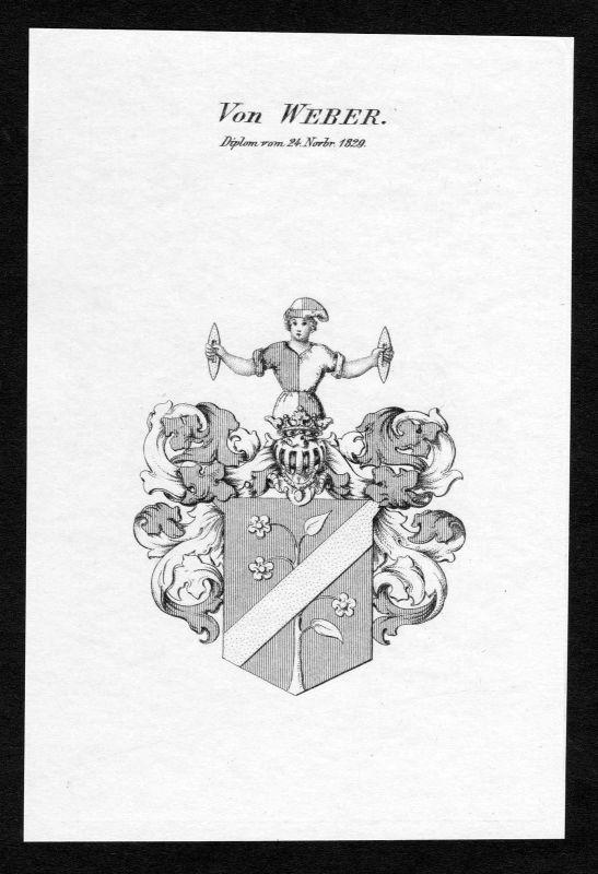 1829 - Weber Wappen Adel coat of arms Kupferstich antique print heraldry 0