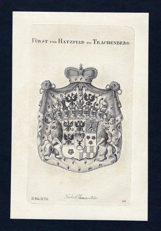 1820 Hatzfeld Trachenberg Wappen Adel coat of arms Kupferstich engraving 0