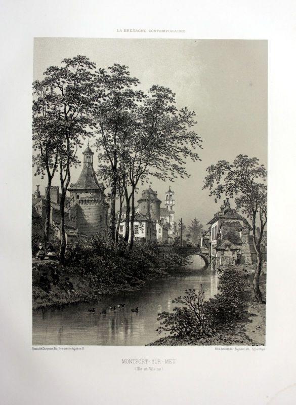 Ca. 1870 Montfort-sur-Meu vue Bretagne France estampe Lithographie lithograph