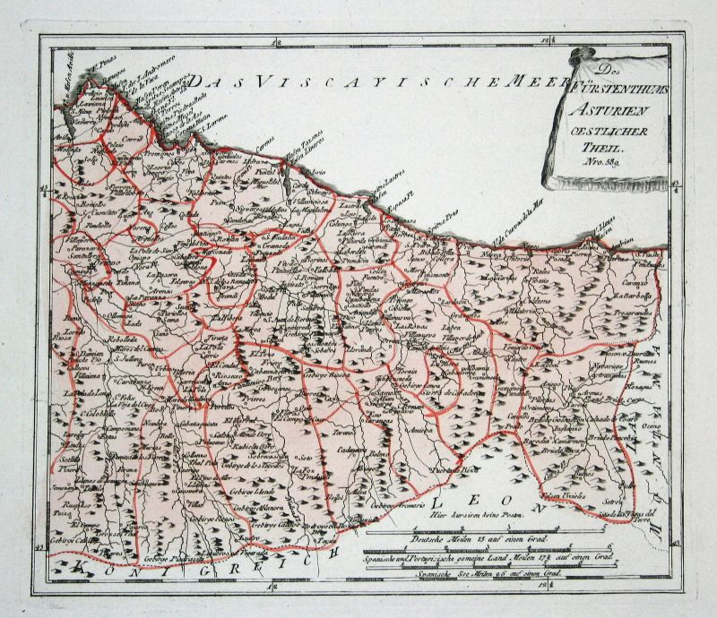 Spanien Spain Portugal Asturien Asturias Oviedo map Reilly engraving Kupf 150494 0