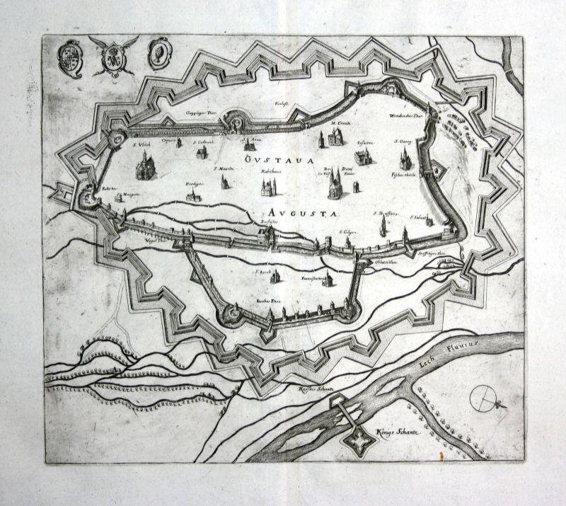 1679 Augsburg plan Ansicht view Kupferstich antique print Merian 0