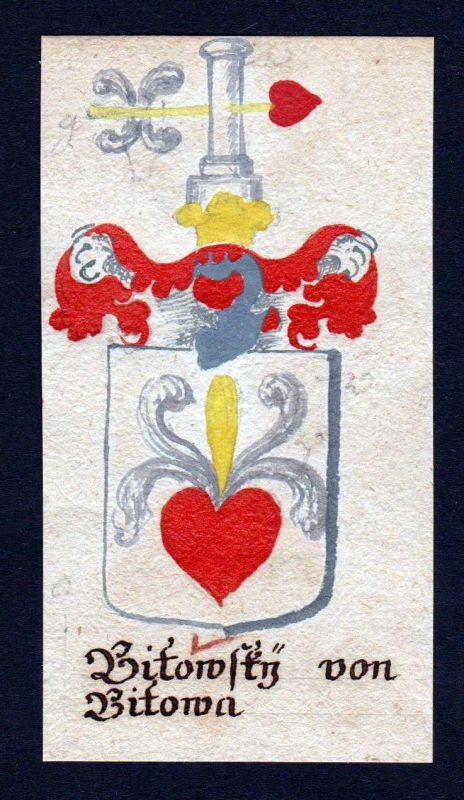 18. Jh. Bitowsky von Bitowa Böhmen Manuskript Wappen Adel coat of arms heraldry 0