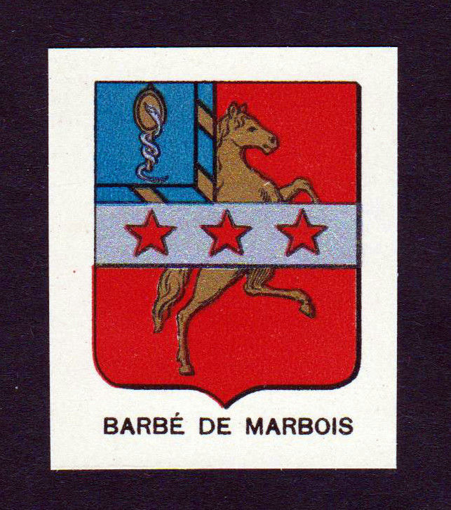1880 Barbe Marbois Wappen Adel coat of arms heraldry Lithographie antique print 0