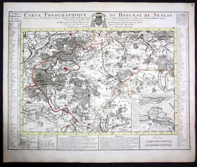 Ca. 1730 Diocese de Senlis map Karte Covens Mortier gravure engraving 0