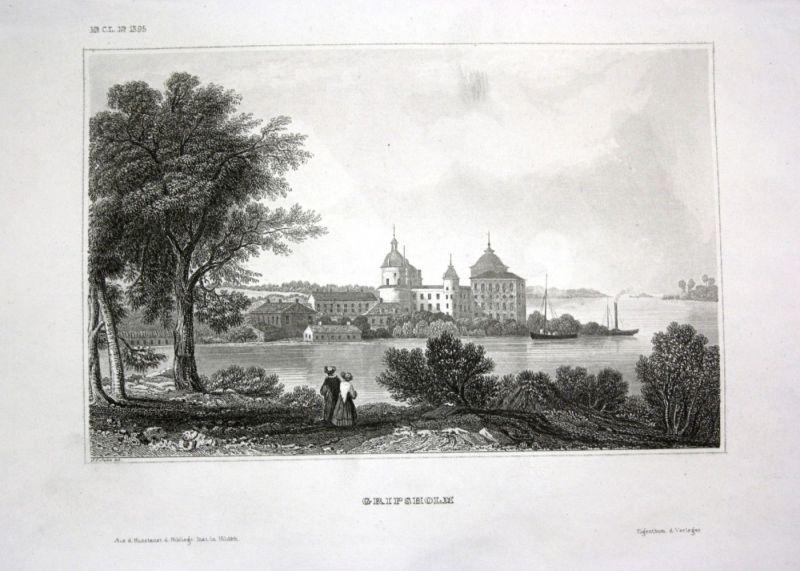 Ca. 1840 Schloss Gripsholm Svenska Schweden Ansicht view Stahlstich engraving