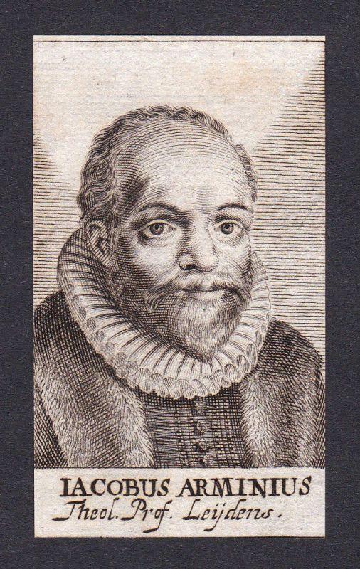 17. Jh. Jacobus Arminius / theologian Theologe Leiden Portrait Kupferstich 0