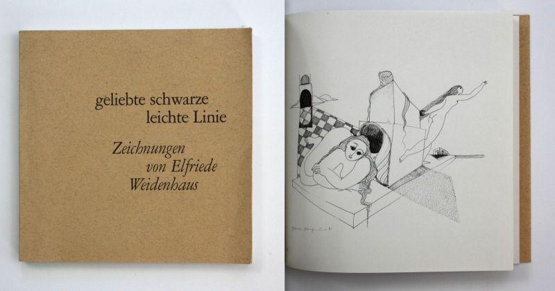 Elfriede Weidenhaus Geliebte schwarze leichte Linie Zeichnungen 1973 Erotik 0