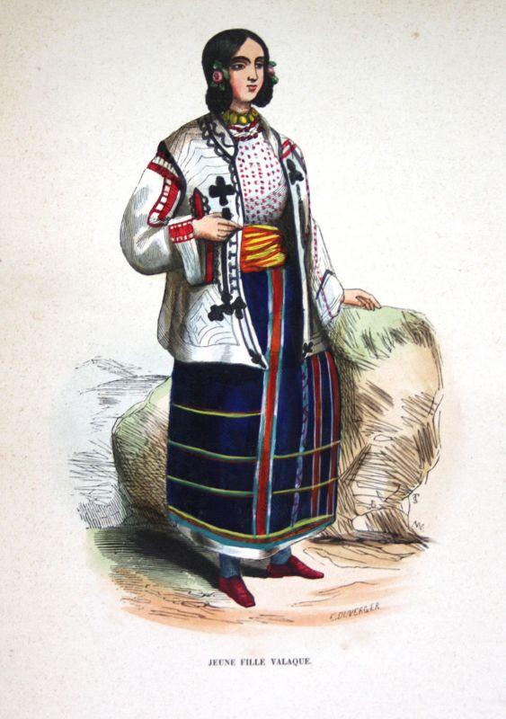 Ca. 1840 Walachei Rumänien Romania costumes Trachten Holzstich woodcut 0