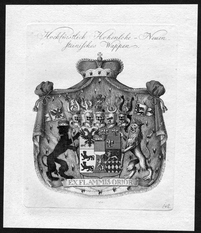 1790 Hohenlohe Neuenstein Wappen Adel coat of arms heraldry Heraldik Kupferstich