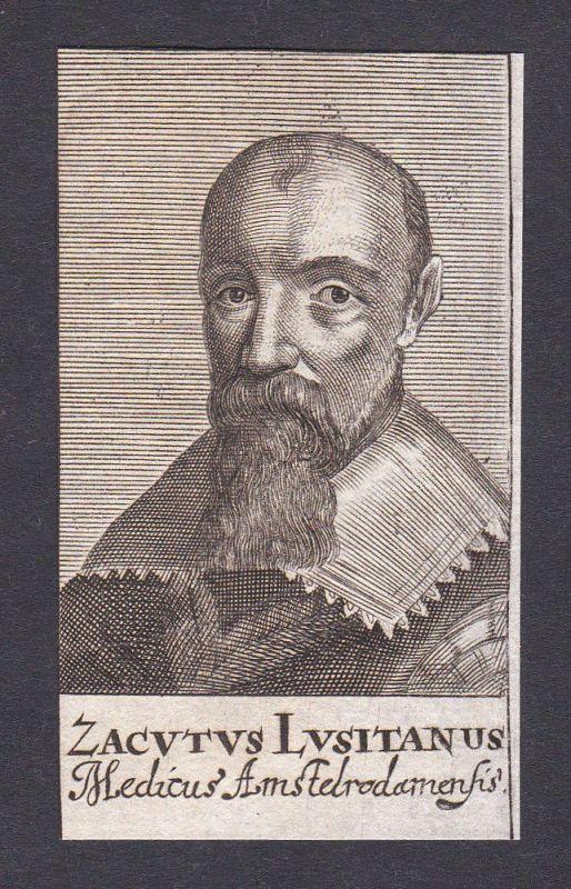 17. Jh. Zacutus Lusitanus / doctor Arzt Mediziner Amsterdam Portrait Kupferstich 0