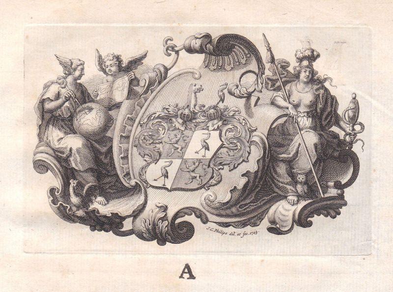 1770 Jan Caspar Philips Allegorie Ornament Wappen Kupferstich engraving gravure 0