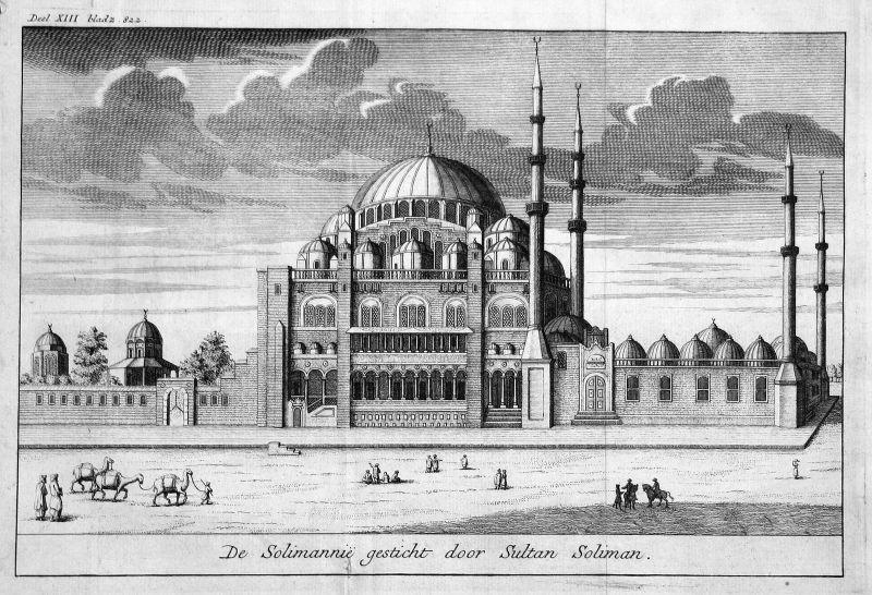 18. Jh. Süleymaniye Camii Mosque Moschee Istanbul Kupferstich antique print 0