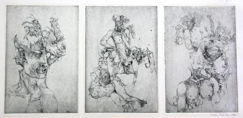 1970 Menschen Gesicht Körper Akt Surrealismus Radierung sign. Christian Mischke 0