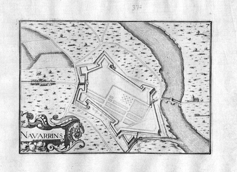 1630 Navarrenx France Frankreich Kupferstich Karte map engraving gravure Tassin