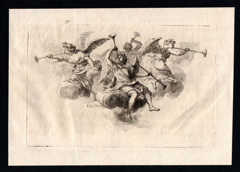 Ornament Engel Trompete angels angels Kupferstich antique print ca. 1700 0