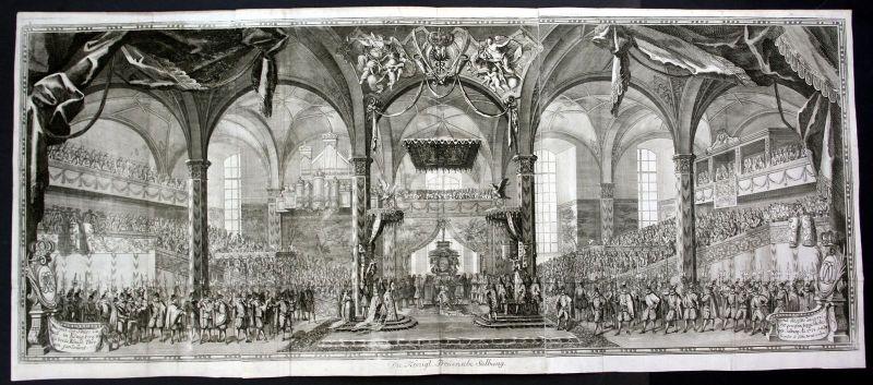 1705 Königsberg Kalinigrad Preussen König Salbung king Kupferstich antique print 0