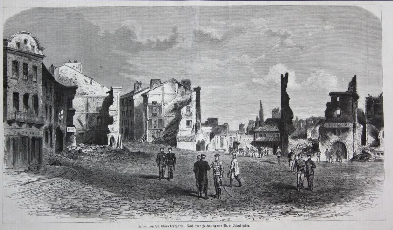1871 Ruinen St. Cloud Saint-Cloud France Paris Frankreich Ruine Bauwerk Häuser