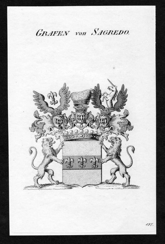 Ca. 1820 Sagredo Wappen Adel coat of arms Kupferstich antique print heraldry 0