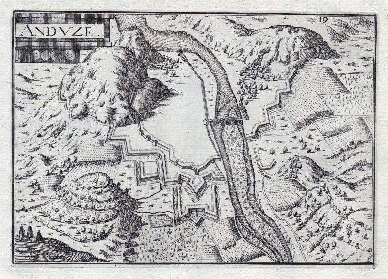 1630 Anduze Languedoc-Roussillon Ales France gravure estampe Kupferstich Tassin 0